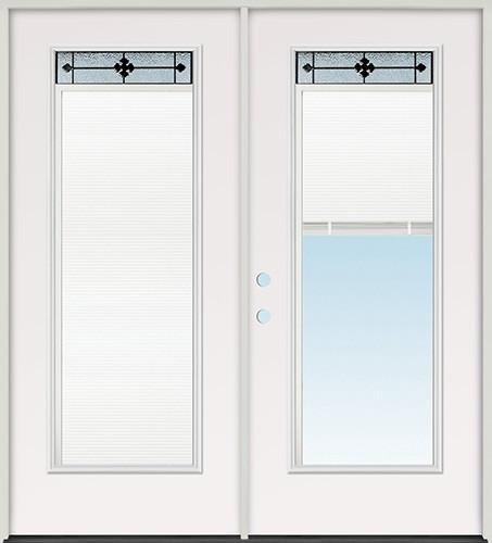"6'0"" Miniblind with Iberia Iron Glass Fiberglass Patio Prehung Double Door Unit"