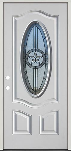 3/4 Oval Texas Star Fiberglass Prehung Door Unit #60