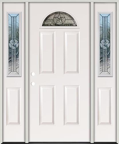 Cheap Star Fan Lite Fiberglass Prehung Door Unit With Sidelites35