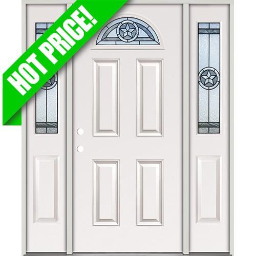 Star Fan Lite Fiberglass Prehung Door Unit with Sidelites #35