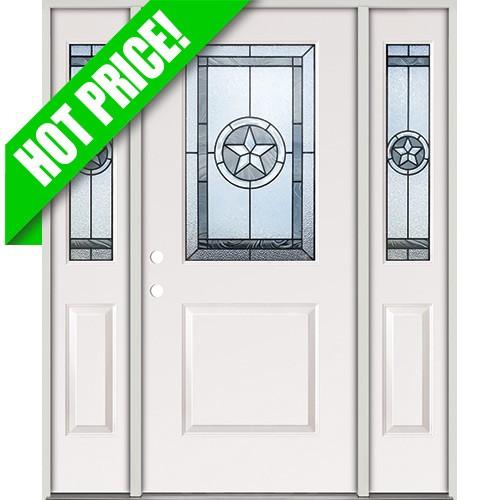 Star Half Lite Fiberglass Prehung Door Unit with Sidelites #40