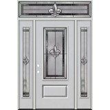 Fleur-de-lis 3/4 Lite Fiberglass Prehung Door Unit with Transom #48