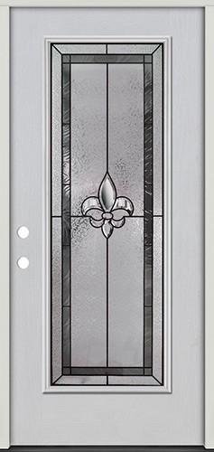 Fleur-de-lis Full Lite Fiberglass Prehung Door Unit #84