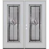 Fleur-de-lis Full Lite Fiberglass Prehung Double Door Unit #84