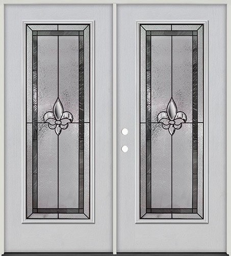 Fleur-de-lis Full Lite Fiberglass Prehung Double Door Unit #84