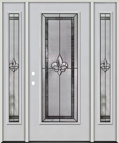 Fleur-de-lis Full Lite Fiberglass Prehung Door Unit with Sidelites #84