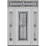 Fleur-de-lis Full Lite Fiberglass Prehung Door Unit with Transom #84