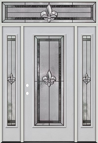 Fleur-de-lis Full Lite Fiberglass Prehung Door Unit with Transom #84