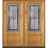 Fleur-de-lis 3/4 Lite Knotty Alder Wood Double Door Unit #48