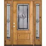Fleur-de-lis 3/4 Lite Knotty Alder Wood Door Unit with Sidelites #48