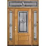 Fleur-de-lis 3/4 Lite Knotty Alder Wood Door Unit with Transom #48