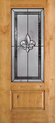Fleur-de-lis 3/4 Lite Knotty Alder Wood Door Slab #48