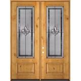 """Fleur-de-lis 8'0"""" Tall 3/4 Lite Knotty Alder Wood Double Door Unit #84"""
