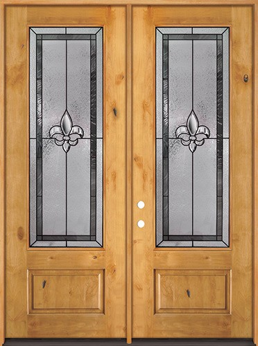 "Fleur-de-lis 8'0"" Tall 3/4 Lite Knotty Alder Wood Double Door Unit #84"