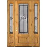 """Fleur-de-lis 8'0"""" Tall 3/4 Lite Knotty Alder Wood Door Unit with Sidelites #84"""
