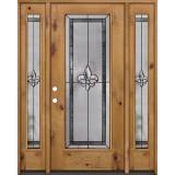 Fleur-de-lis Full Lite Knotty Alder Wood Door Unit with Sidelites #84