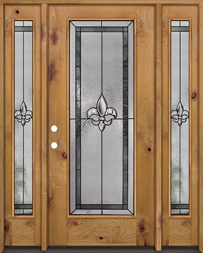 Fleur-de-lis Full Lite Knotty Alder Wood Door Unit with Sidelites #84