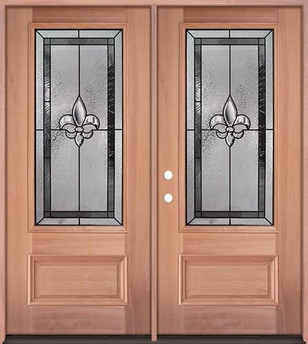 Fleur-de-lis 3/4 Lite Mahogany Wood Double Door Unit #48