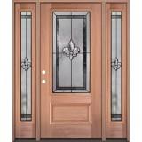 Fleur-de-lis 3/4 Lite Mahogany Wood Door Unit with Sidelites #48