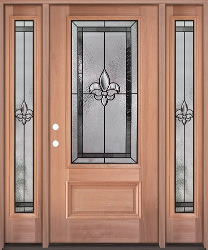 Fleur-de-lis 3/4 Lite Mahogany Wood Door Unit with Sidelites #48