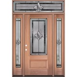 Fleur-de-lis 3/4 Lite Mahogany Wood Door Unit with Transom #48