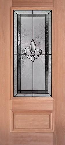 Fleur-de-lis 3/4 Lite Mahogany Wood Door Slab #48