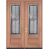 """Fleur-de-lis 8'0"""" Tall 3/4 Lite Mahogany Wood Double Door Unit #84"""
