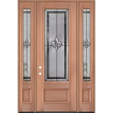 "Fleur-de-lis 8'0"" Tall 3/4 Lite Mahogany Wood Door Unit with Sidelites #84"