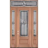 "Fleur-de-lis 8'0"" Tall 3/4 Lite Mahogany Wood Door Unit with Transom #84"