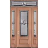 """Fleur-de-lis 8'0"""" Tall 3/4 Lite Mahogany Wood Door Unit with Transom #84"""