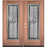 Fleur-de-lis Full Lite Mahogany Wood Double Door Unit #84