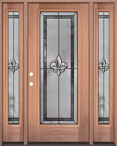 Fleur-de-lis Full Lite Mahogany Wood Door Unit with Sidelites #84