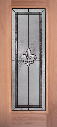 Fleur-de-lis Full Lite Mahogany Wood Door Slab #84