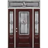 Fleur-de-lis 3/4 Lite Fiberglass Prehung Door Unit with Transom #48