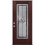 Fleur-de-lis Full Lite Pre-finished Mahogany Fiberglass Prehung Door Unit #84