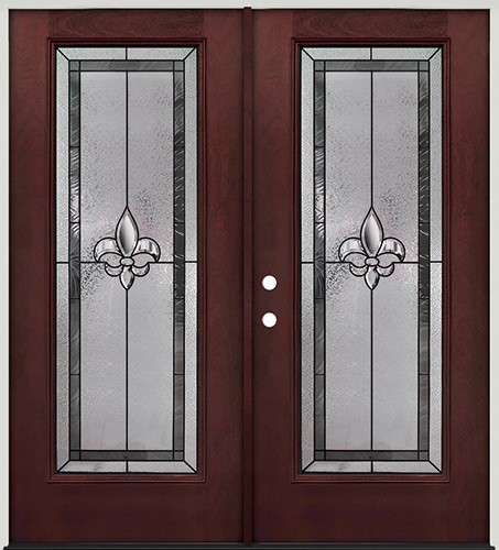 Fleur-de-lis Full Lite Pre-finished Mahogany Fiberglass Prehung Double Door Unit #84
