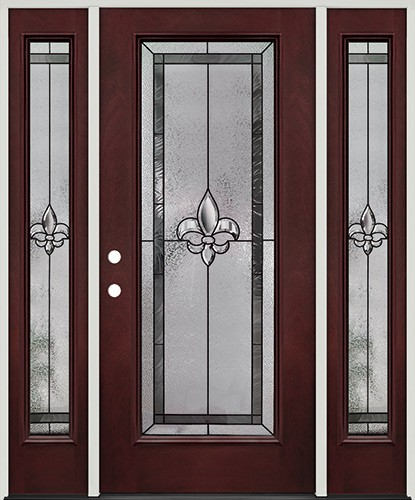 Fleur-de-lis Full Lite Pre-finished Mahogany Fiberglass Prehung Door Unit with Sidelites #84