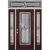 Fleur-de-lis Full Lite Pre-finished Mahogany Fiberglass Prehung Door Unit with Transom #84