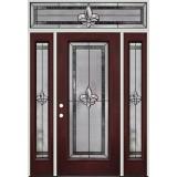 Fleur-de-lis Full Lite Pre-finished Mahogany Fiberglass Prehung Door Unit with Transom #84