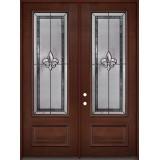 """Fleur-de-lis 8'0"""" Tall 3/4 Lite Pre-finished Mahogany Wood Double Door Unit #84"""