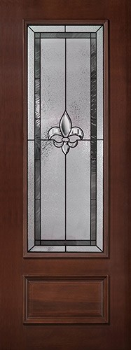 "Fleur-de-lis 8'0"" Tall 3/4 Lite Pre-finished Mahogany Wood Door Slab #84"