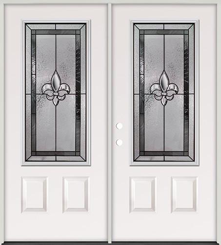 Fleur-de-lis 3/4 Lite Steel Prehung Double Door Unit #48