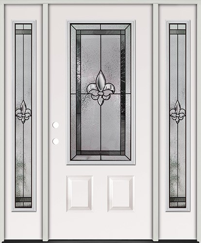 Fleur-de-lis 3/4 Lite Steel Prehung Door Unit with Sidelites #48