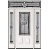 Fleur-de-lis 3/4 Lite Steel Prehung Door Unit with Transom #48