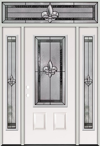 Fleur-de-lis 3/4 Lite Steel Prehung Door Unit with Transom #48