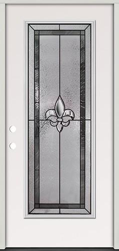 Fleur-de-lis Full Lite Steel Prehung Door Unit #84