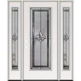 Fleur-de-lis Full Lite Steel Prehung Door Unit with Sidelites #84