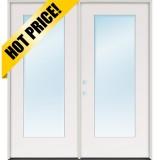 "6'0"" Flush Glazed Full Lite Fiberglass Patio Prehung Double Door Unit"