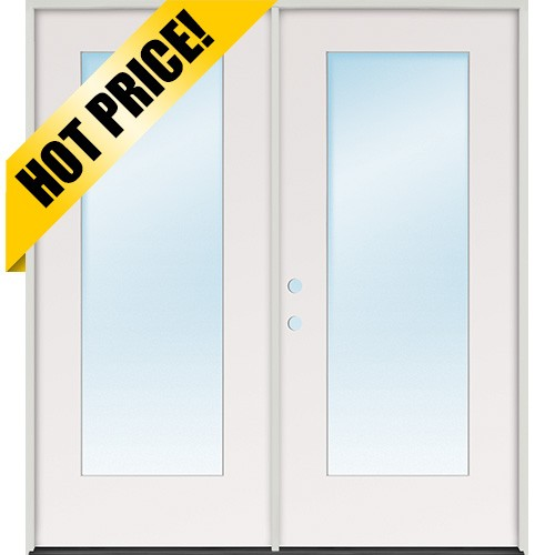 "6'0"" Flush Glazed Full Lite Fiberglass Patio Prehung Double Door Unit"