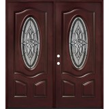 3/4 Oval #16 Pre-finished Fiberglass Double Doors Prehung in Pre-finished Jambs